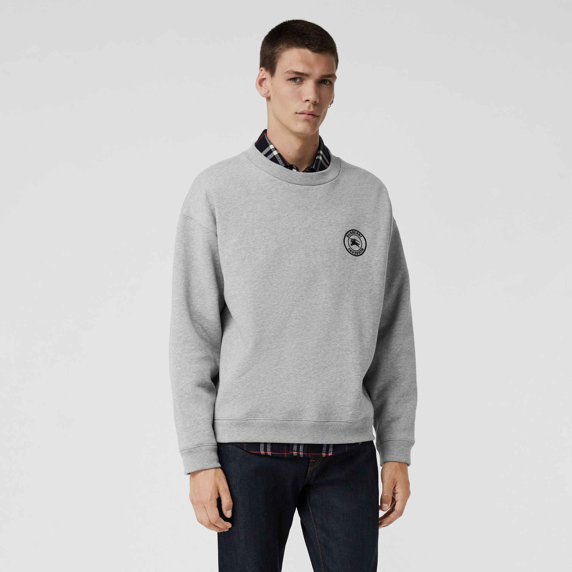Embroidered Logo Jersey Sweatshirt in Pale Grey Melange - Men | Burberry Singapore - gallery image 4