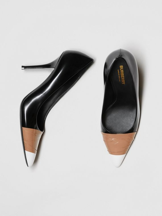 Tape Detail Leather Pumps in Black/optic White