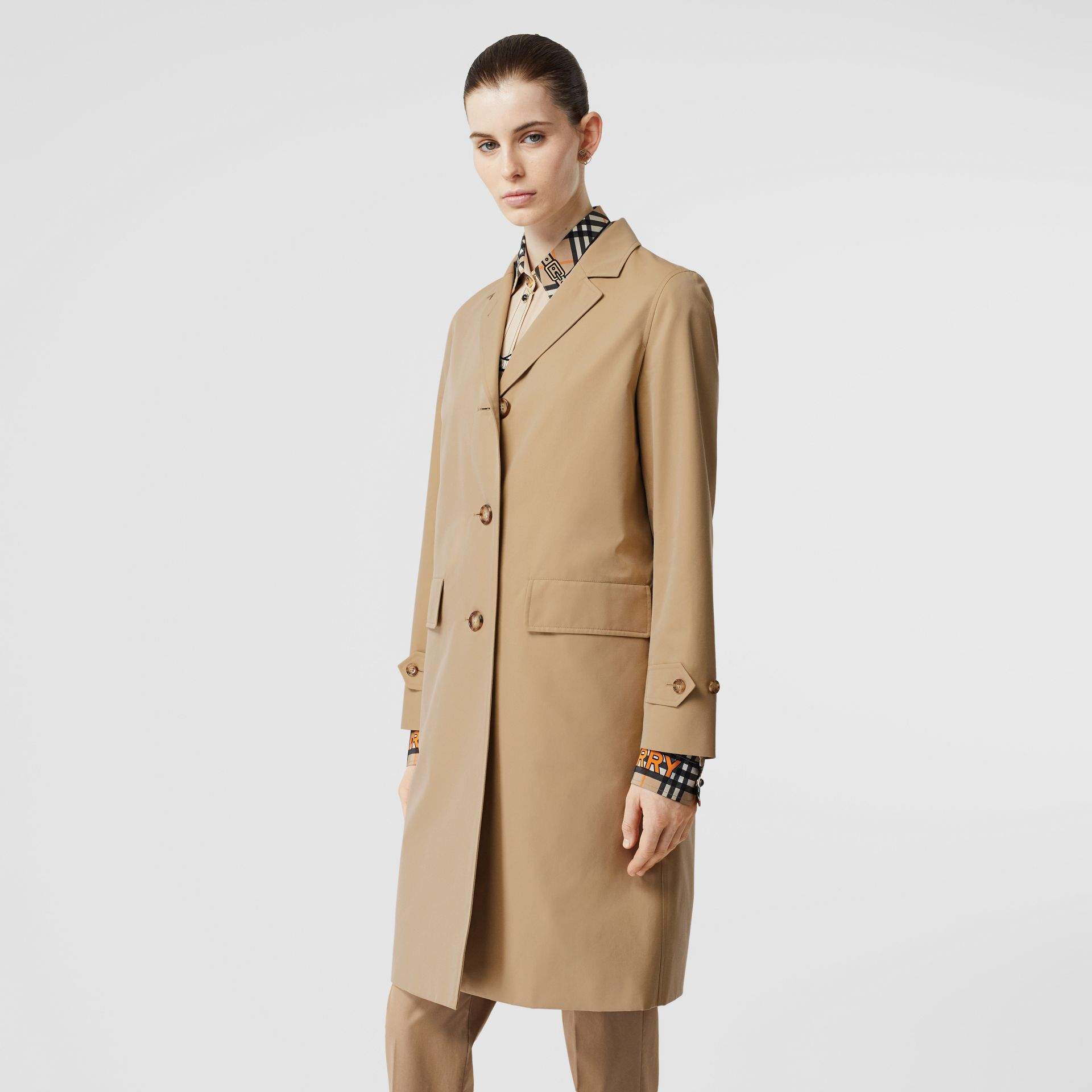 Cotton Gabardine Lab Coat in Honey - Women | Burberry - gallery image 5