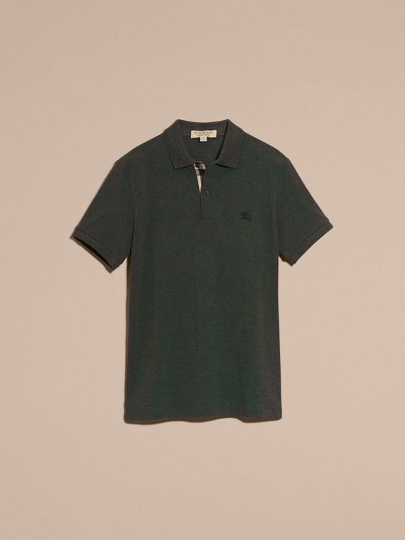 Racing green melange Check Placket Cotton Piqué Polo Shirt Racing Green Melange - cell image 3