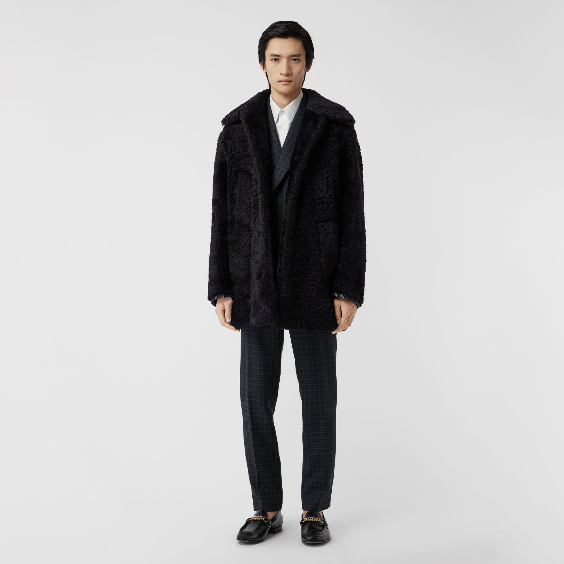 Curly Shearling Coat in Navy - Men | Burberry - gallery image 0