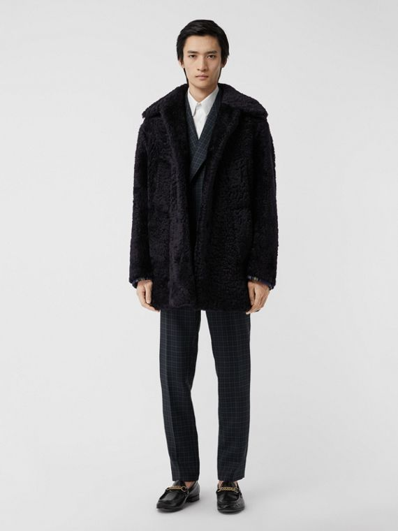 Curly Shearling Coat in Navy