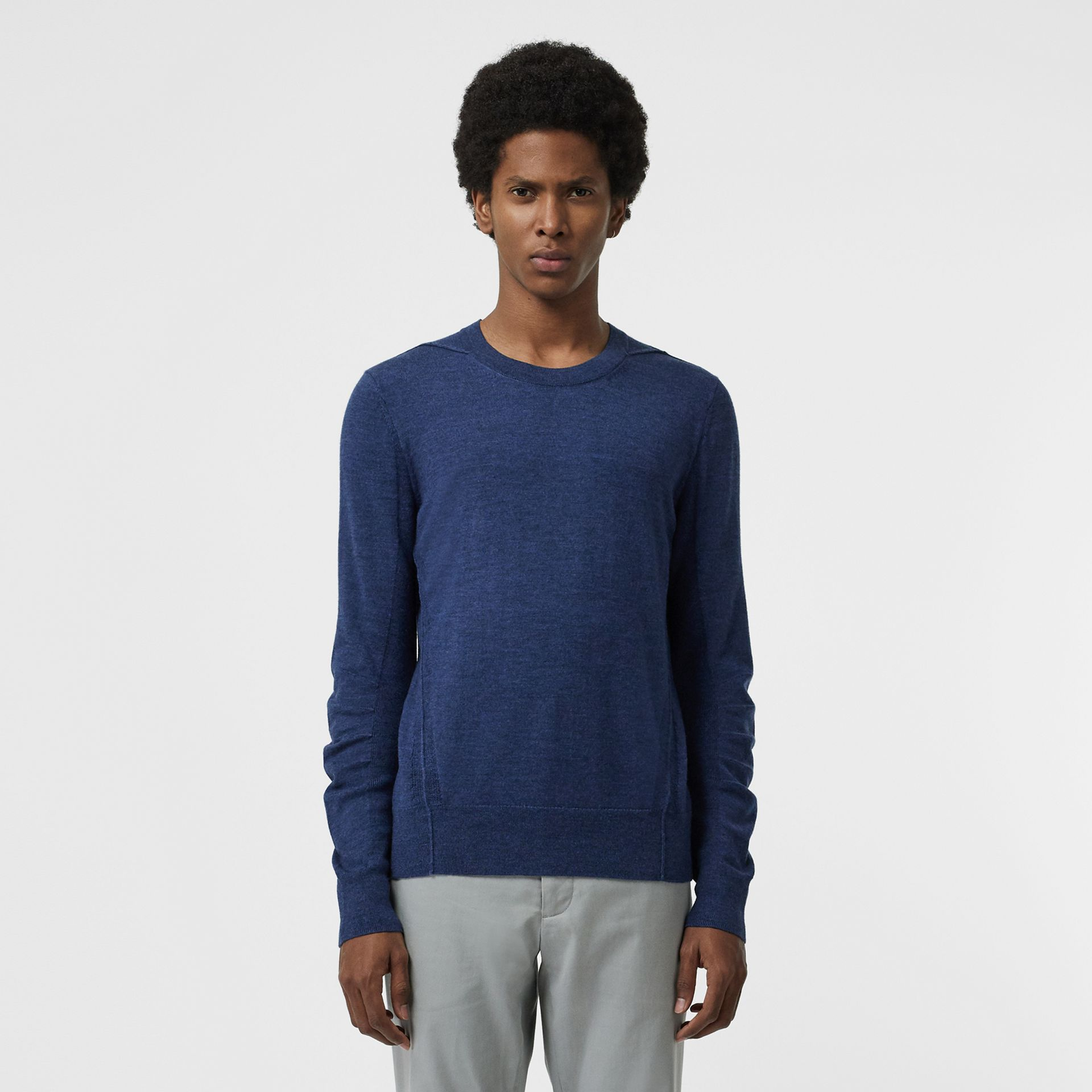 Rib Knit Detail Merino Wool Sweater in Storm Blue - Men | Burberry Canada - gallery image 0
