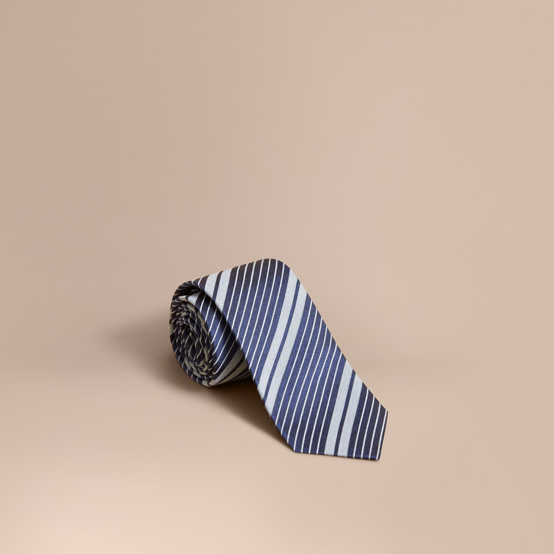 Modern Cut Striped Silk Cotton Jacquard Tie - gallery image 1