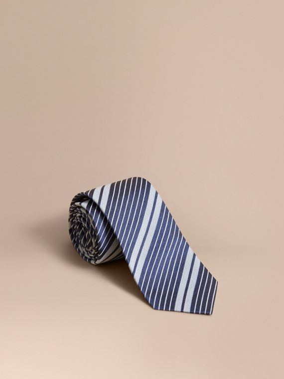 Modern Cut Striped Silk Cotton Jacquard Tie