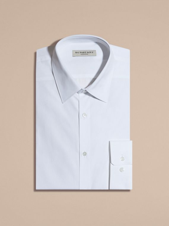 White Modern Fit Cotton Poplin Shirt - cell image 3