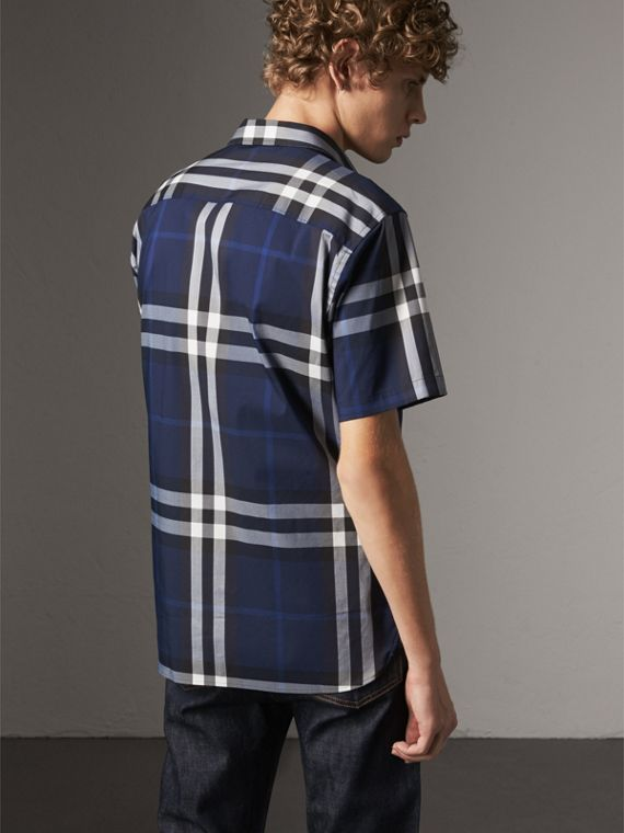 Short-sleeved Check Stretch Cotton Shirt in Indigo Blue - Men | Burberry Canada - cell image 2