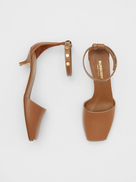 Triple Stud Leather Kitten-heel Sandals in Tan
