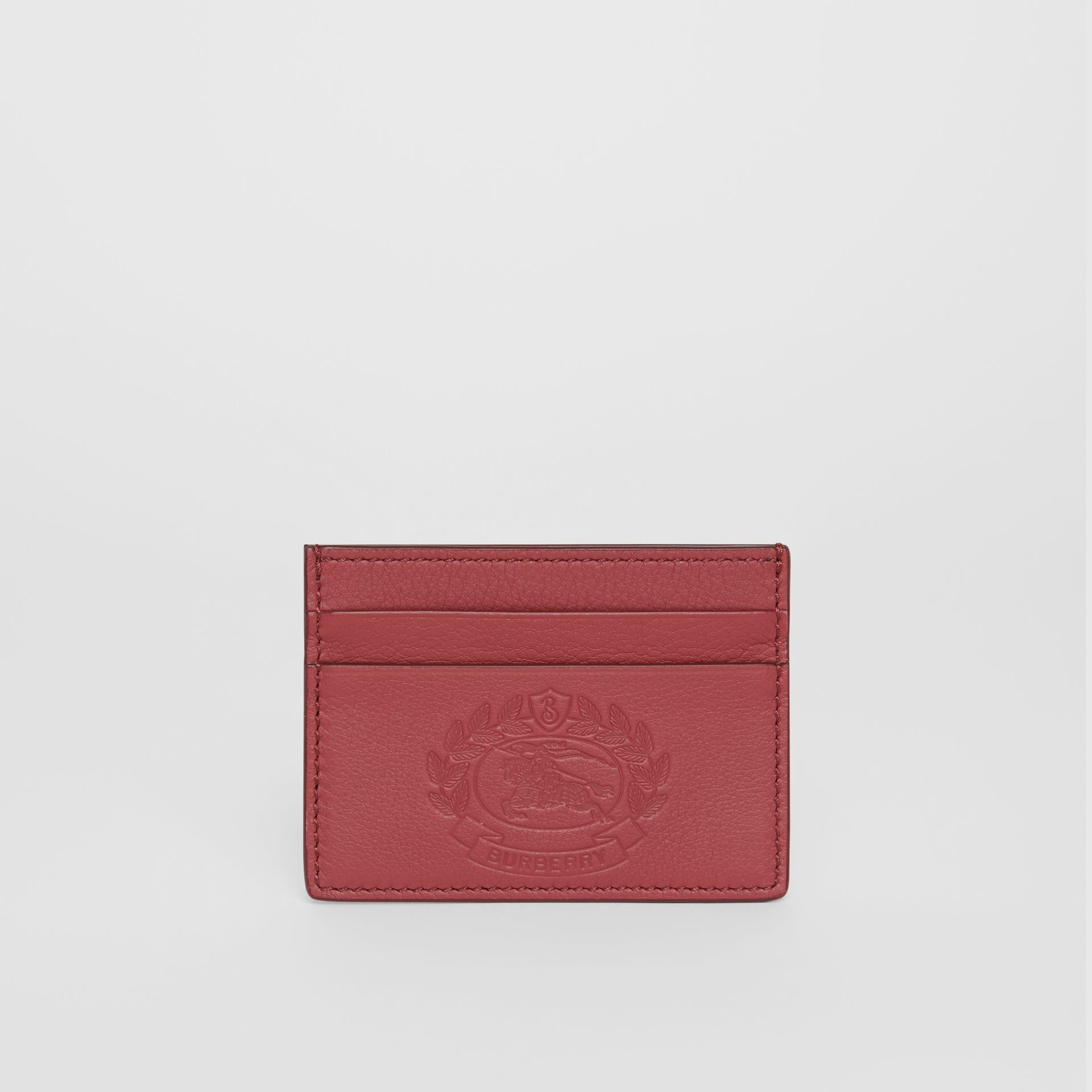 Embossed Crest Leather Card Case in Crimson | Burberry - gallery image 5