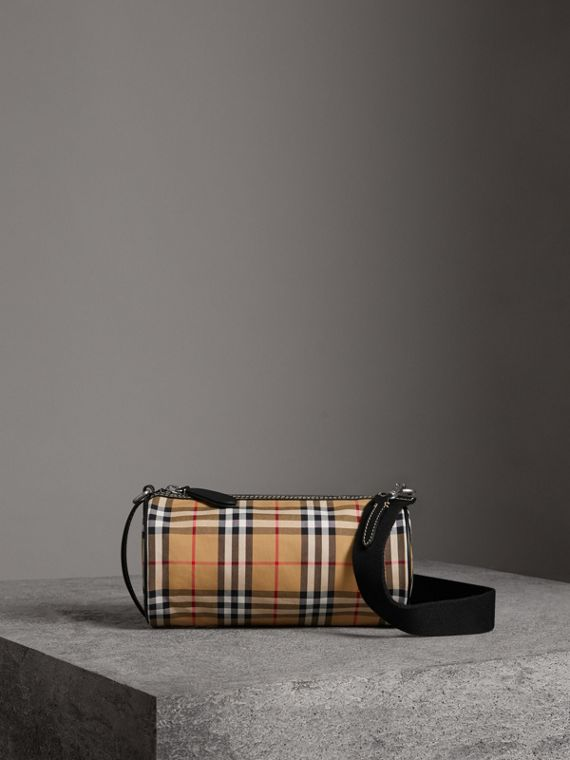 The Small Vintage Check and Leather Barrel Bag in Antique Yellow