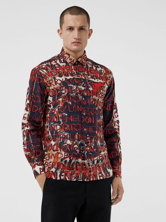 Graffiti Archive Scarf Print Cotton Shirt in Navy