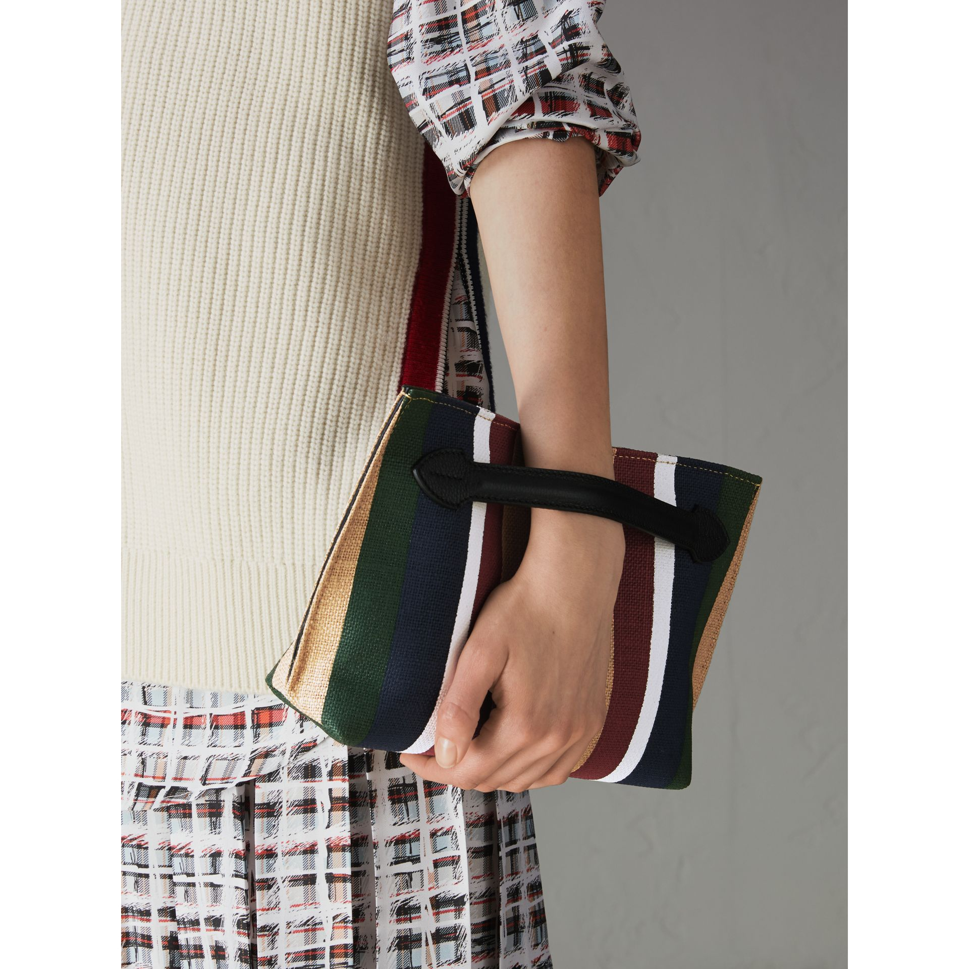 Striped Jute Wristlet Clutch in Black - Women | Burberry - gallery image 3