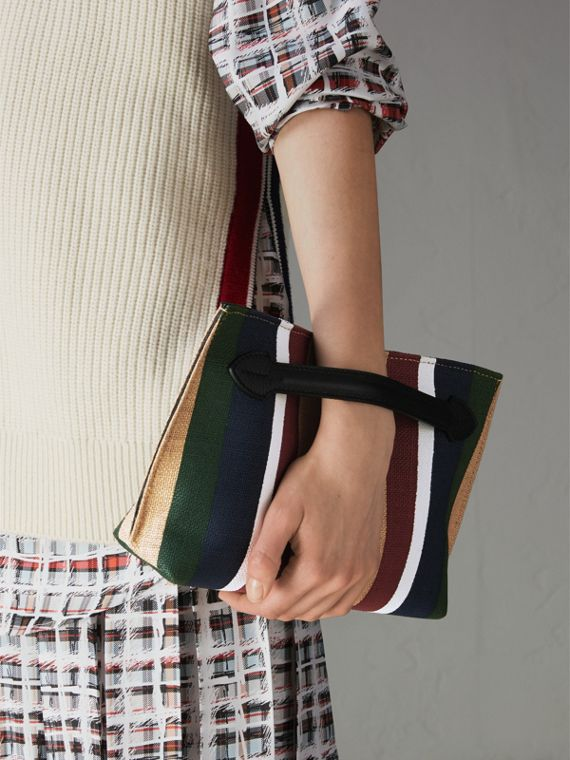 Striped Jute Wristlet Clutch in Black - Women | Burberry Singapore - cell image 3