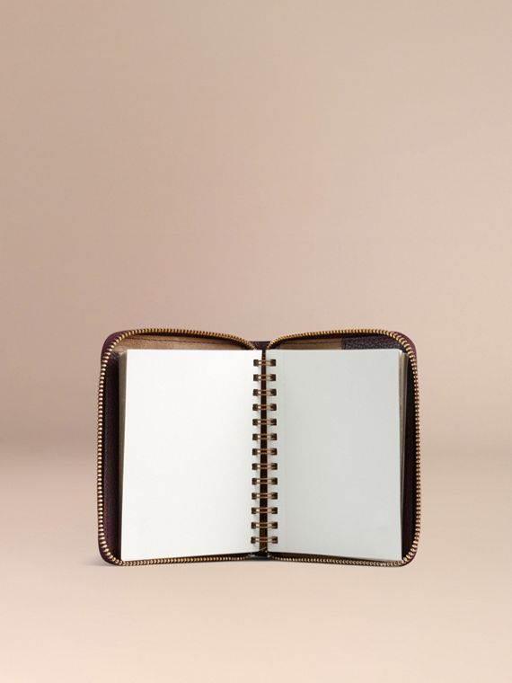 Ziparound Grainy Leather Mini Notebook in Dark Amethyst | Burberry Canada - cell image 2