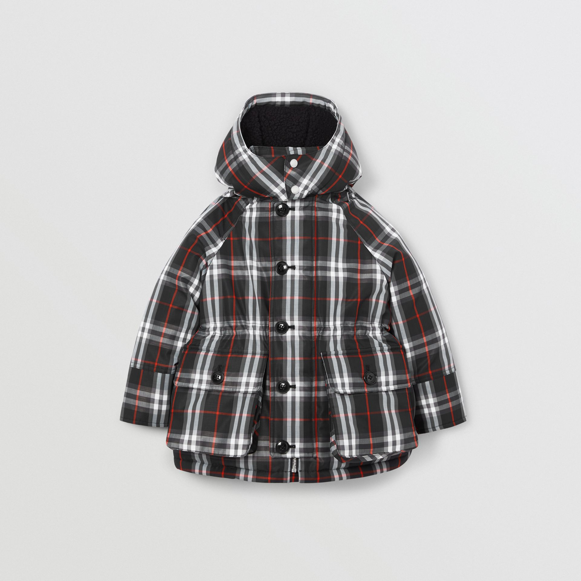 Vintage Check Down-filled Hooded Puffer Jacket in Black | Burberry - gallery image 0