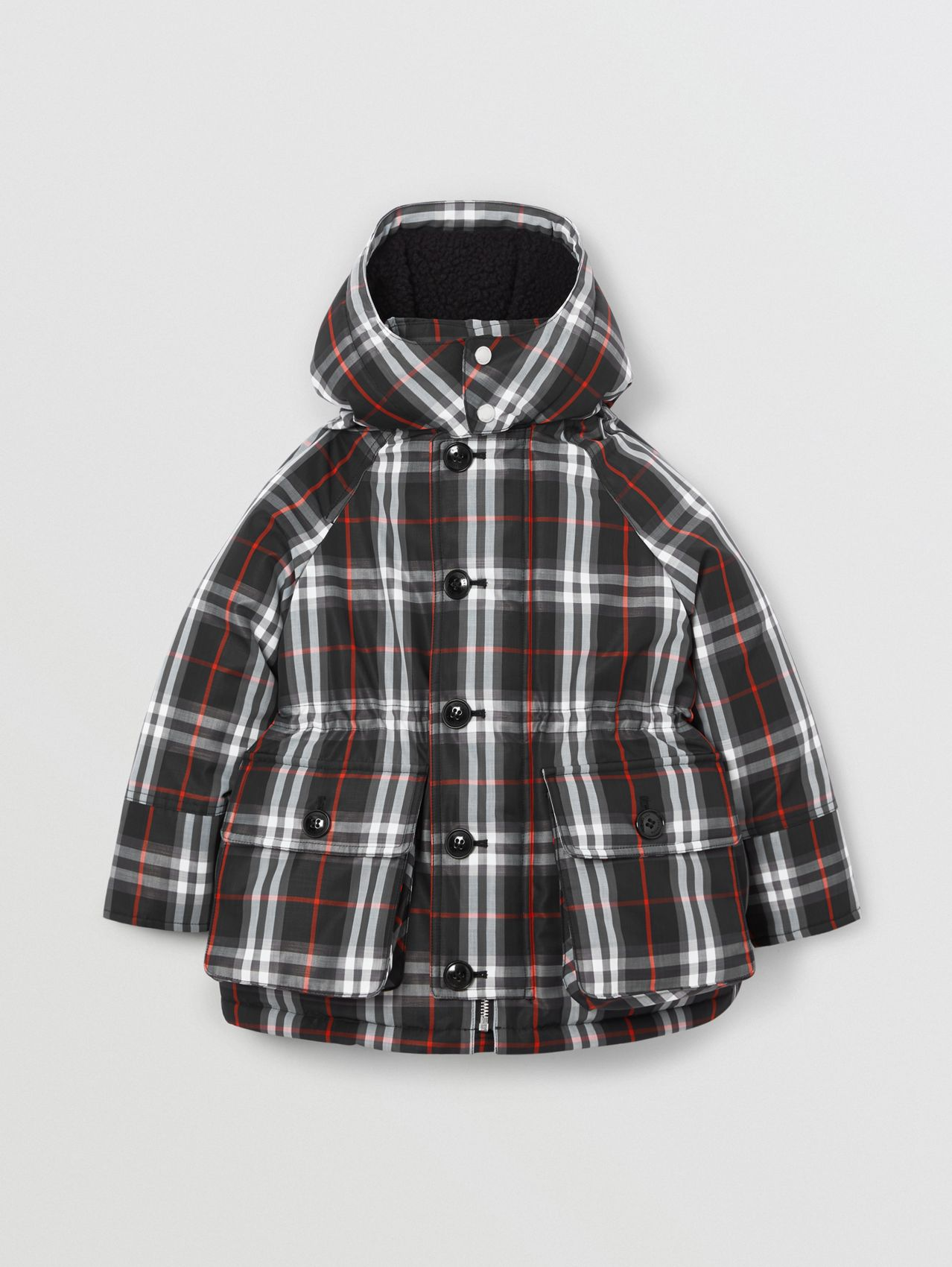 Vintage Check Down-filled Hooded Puffer Jacket in Black