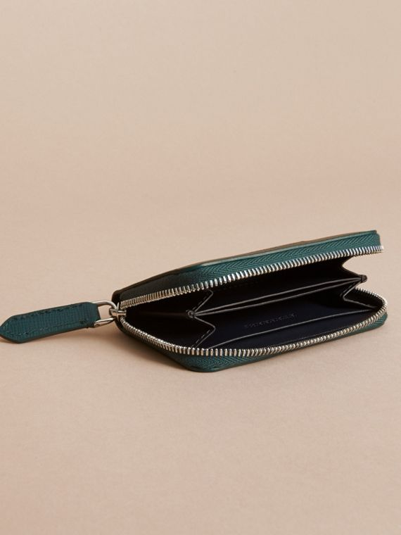 London Leather Ziparound Coin Case in Dark Teal | Burberry - cell image 3