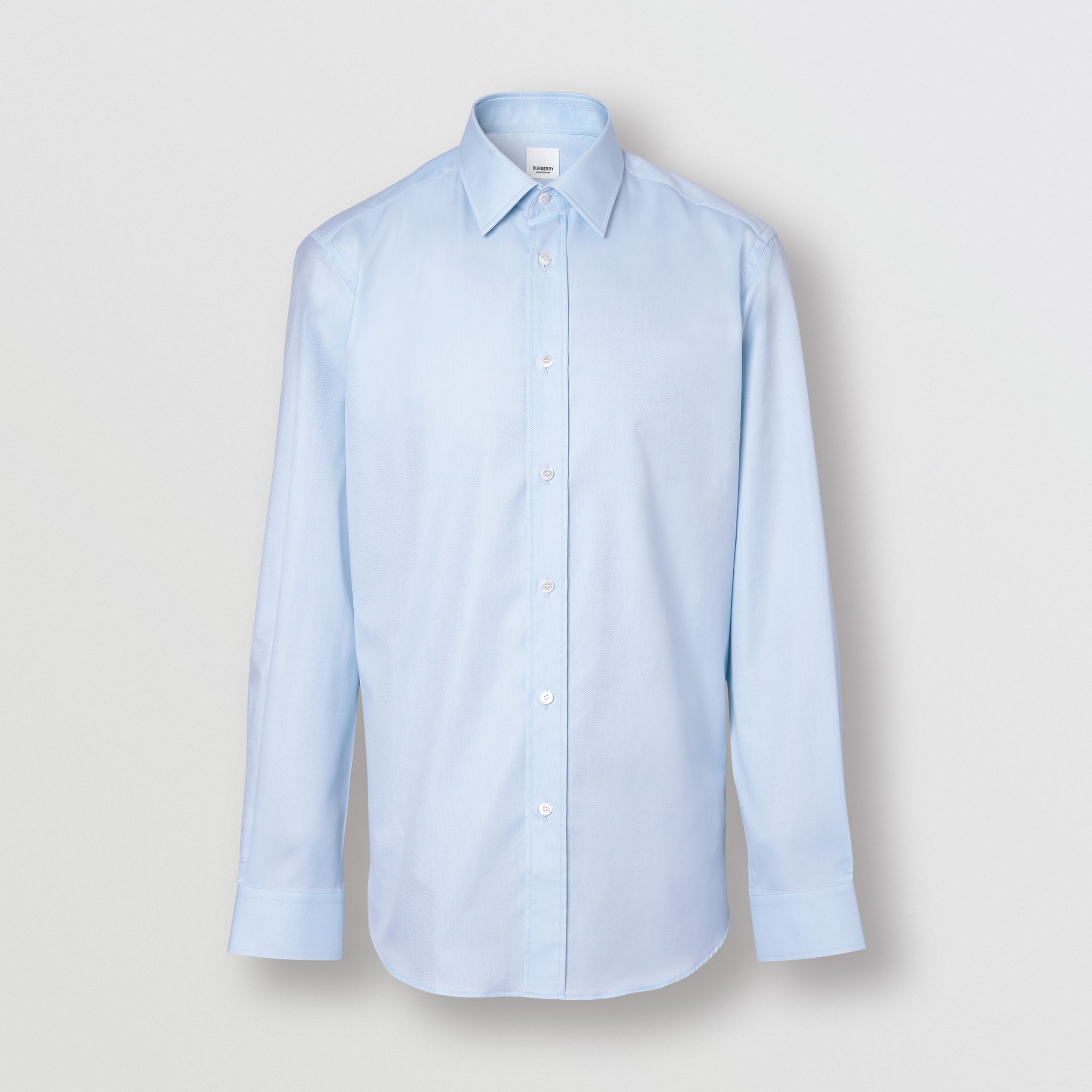 Slim Fit Monogram Motif Cotton Poplin Shirt in Pale Blue - Men | Burberry Singapore - gallery image 3