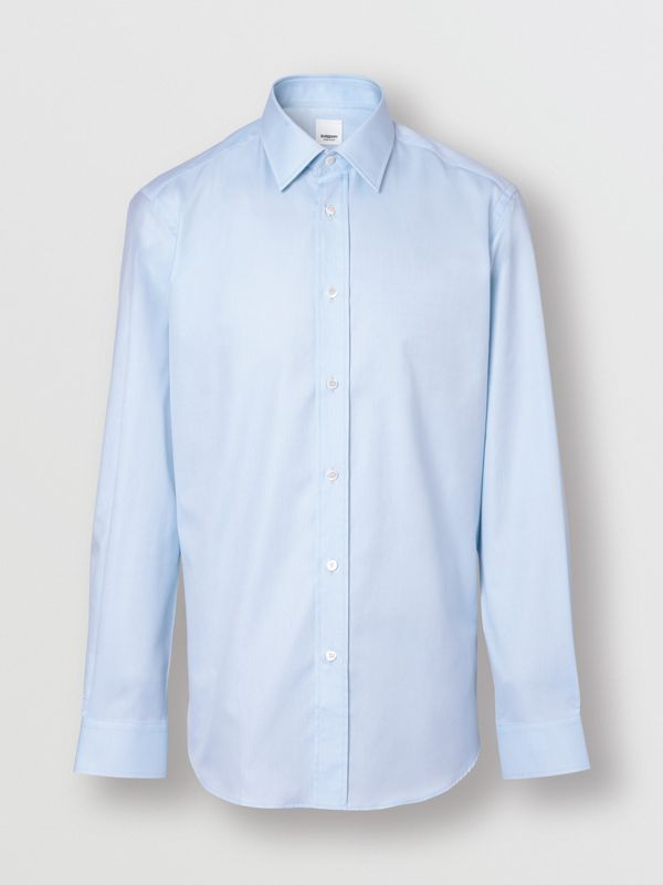 Slim Fit Monogram Motif Cotton Poplin Shirt in Pale Blue - Men | Burberry - cell image 3