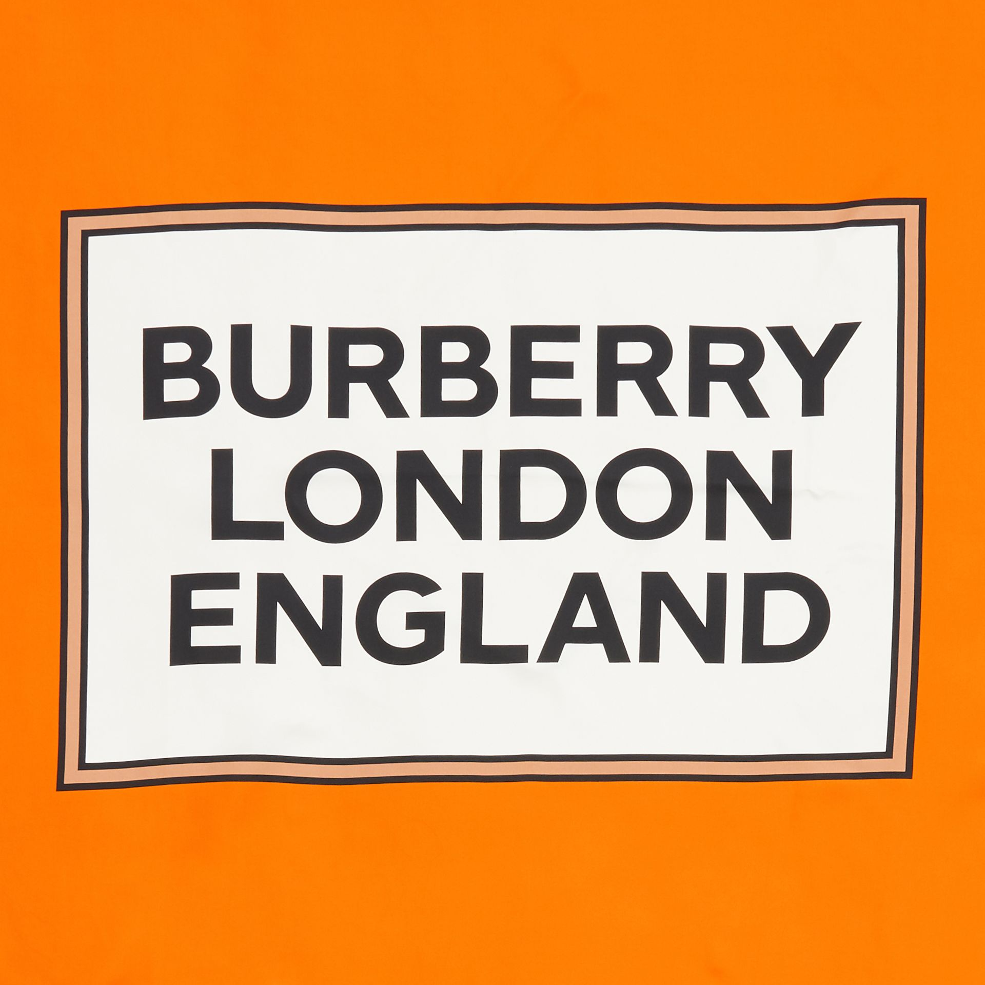 Logo Print Silk Square Scarf in Orange | Burberry - gallery image 7