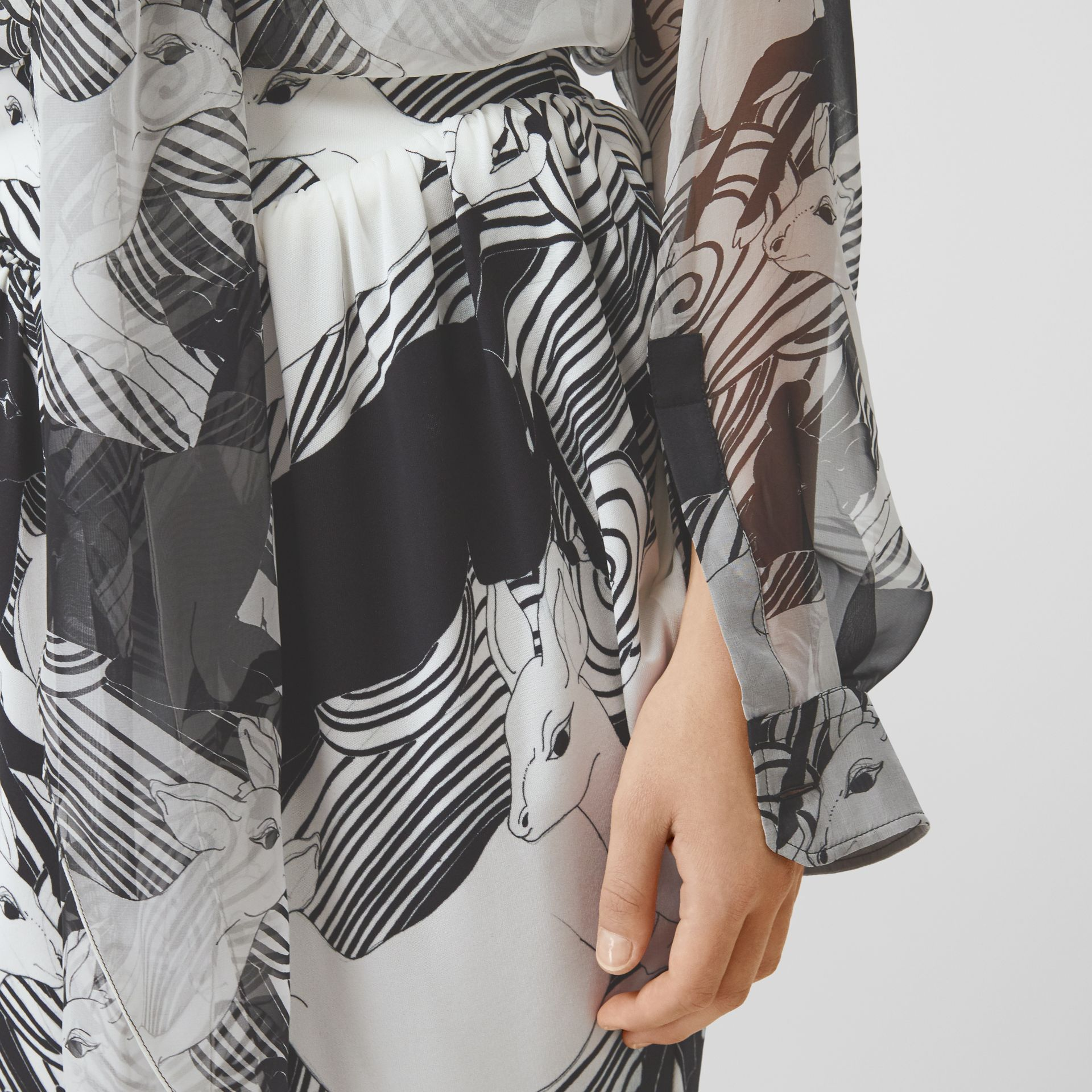 Deer Print Silk Chiffon Pussy-bow Blouse in Monochrome - Women | Burberry - gallery image 1