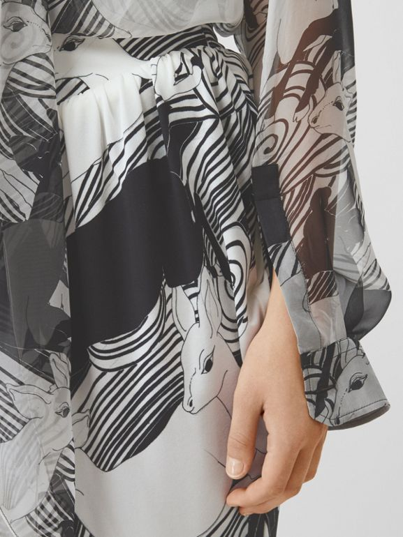 Deer Print Silk Chiffon Pussy-bow Blouse in Monochrome - Women | Burberry - cell image 1