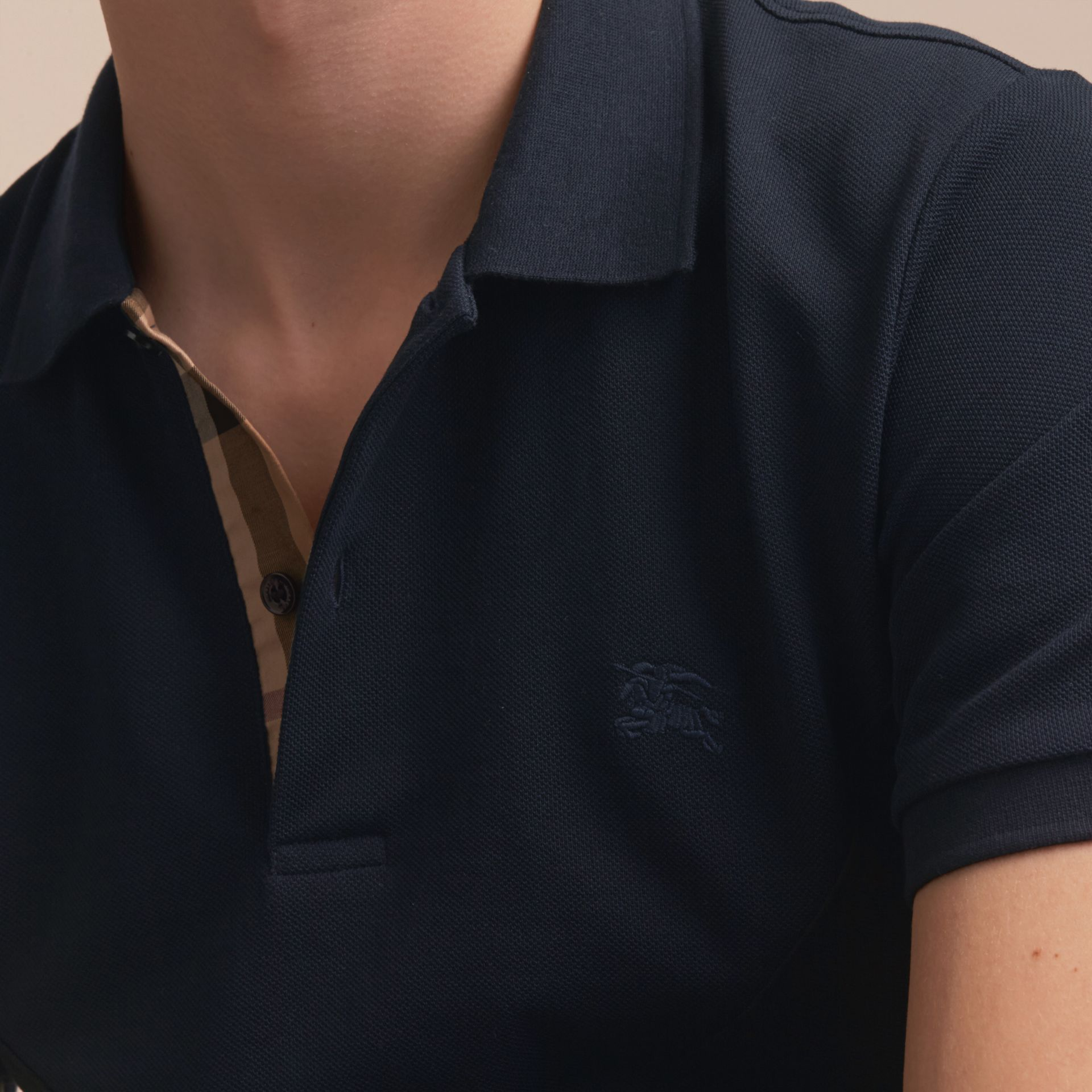 Geometric Motif Cotton Piqué Polo Shirt with Check Placket in Dark Navy - gallery image 5