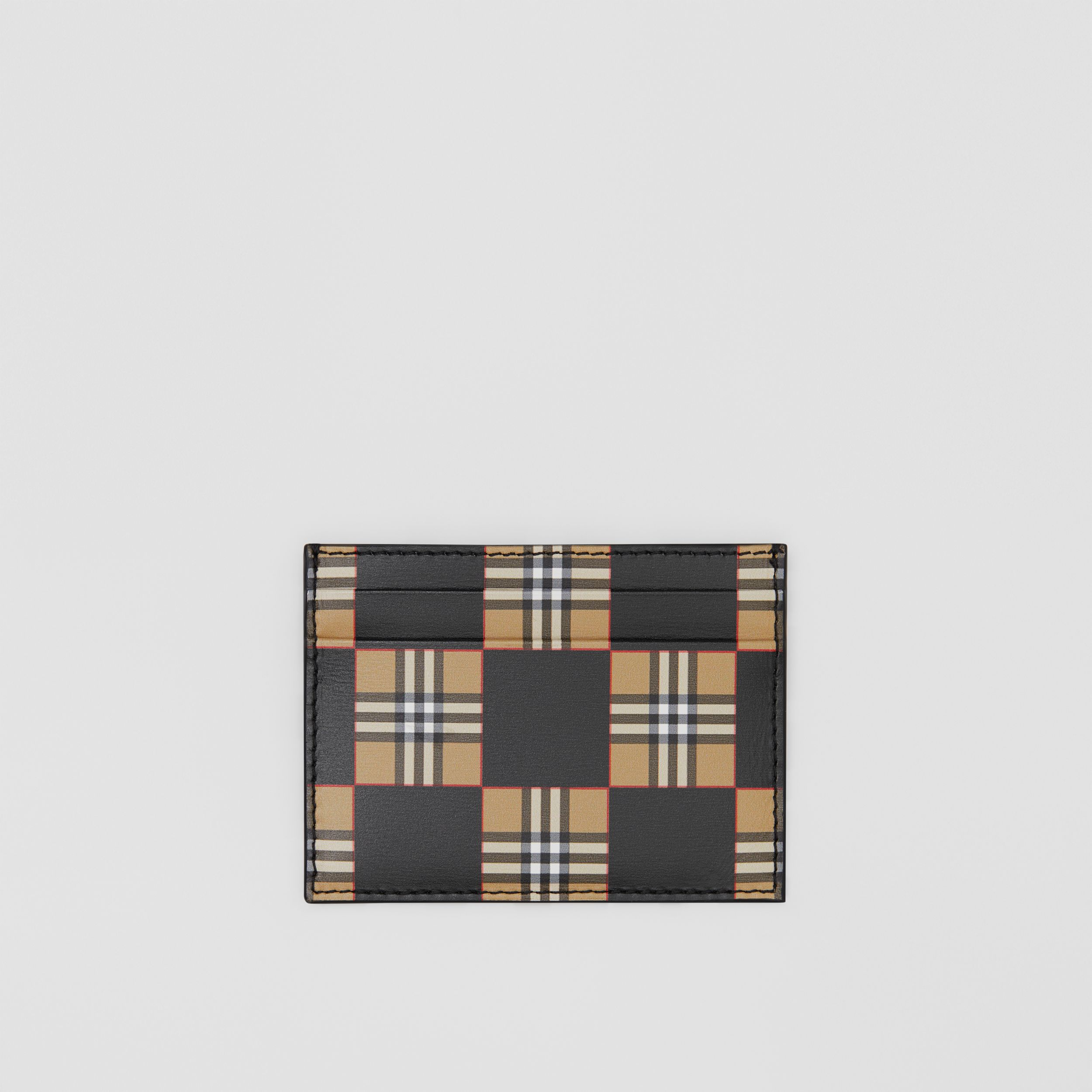 Chequer Print Leather Card Case in Archive Beige/black | Burberry - 1