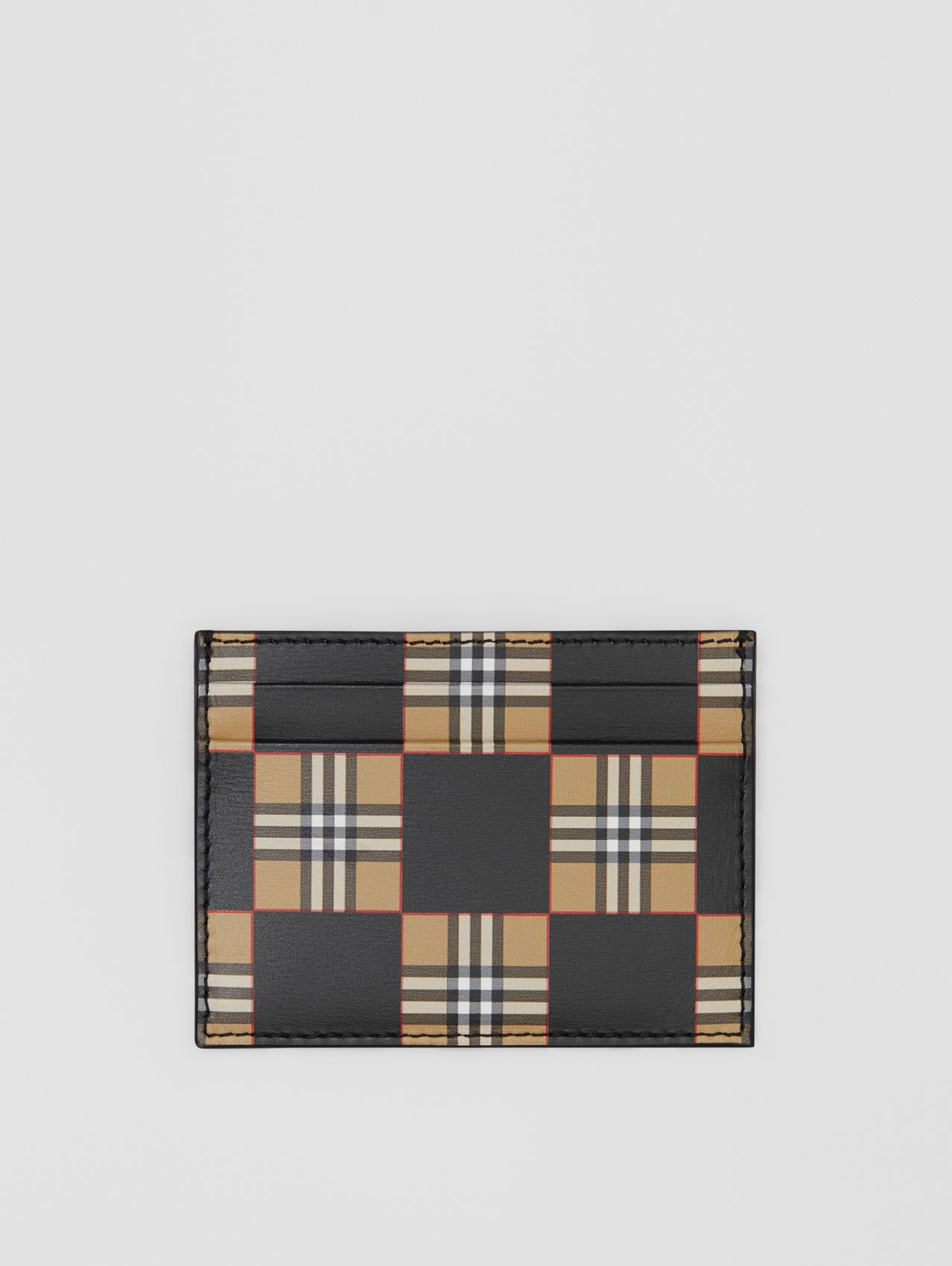Chequer Print Leather Card Case in Archive Beige/black