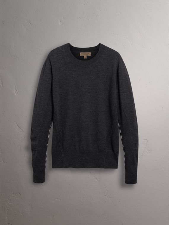 Check Detail Merino Wool Sweater in Charcoal - Men | Burberry - cell image 3