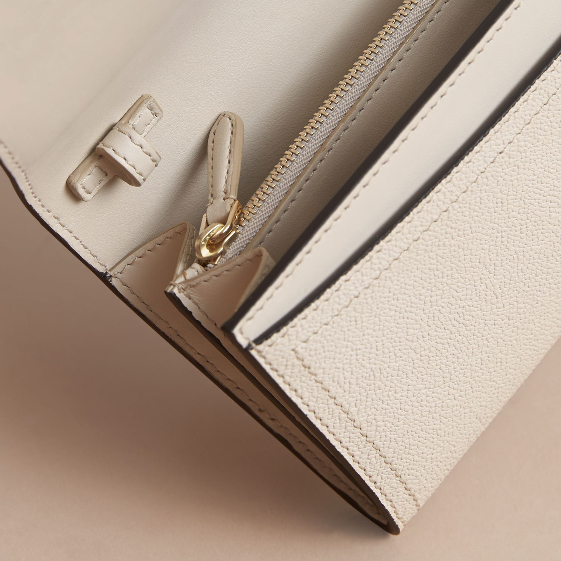 Leather Wallet with Chain in Limestone - Women | Burberry - gallery image 5