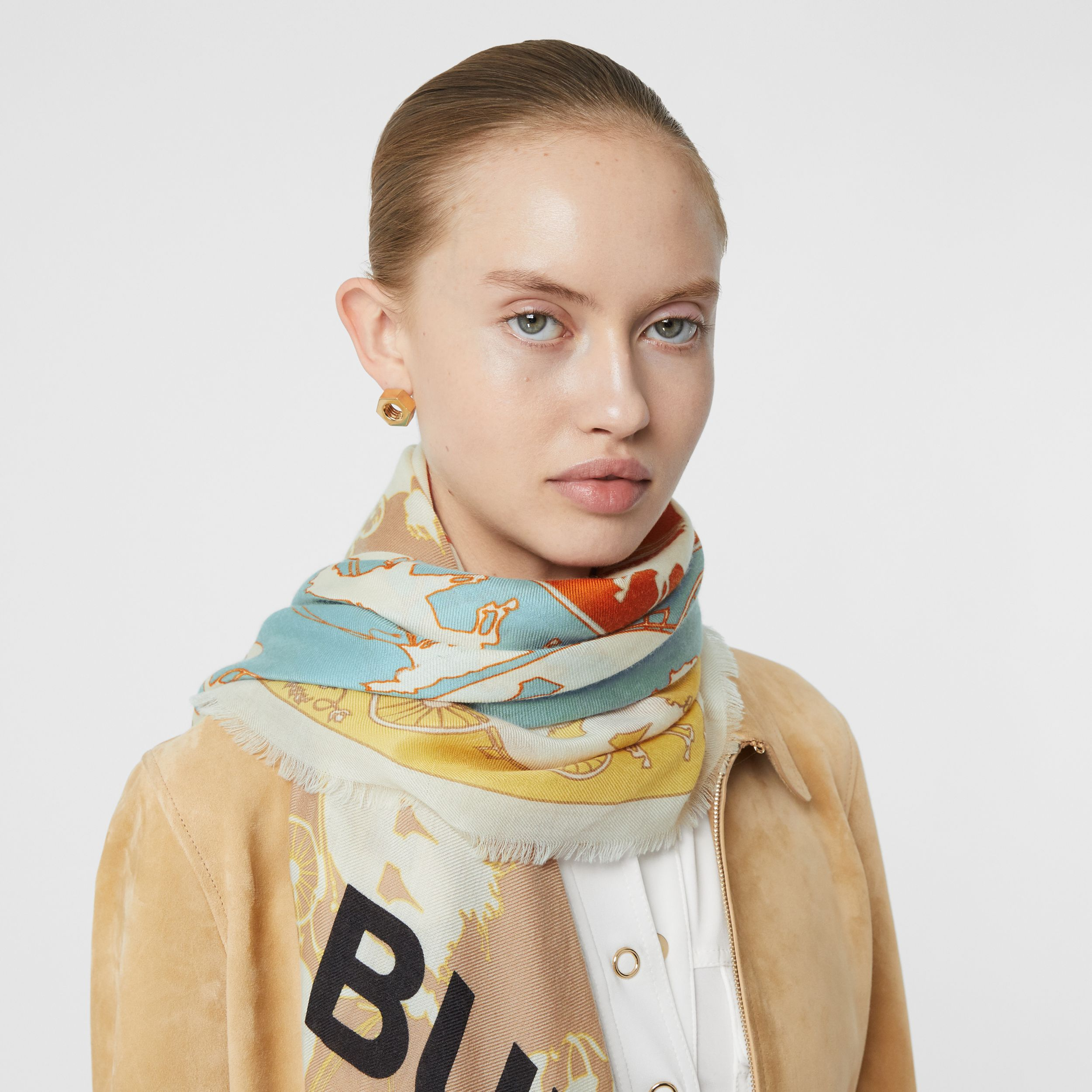 Archive Scarf Print Cashmere Large Square Scarf in Multicolour - Men | Burberry - 3