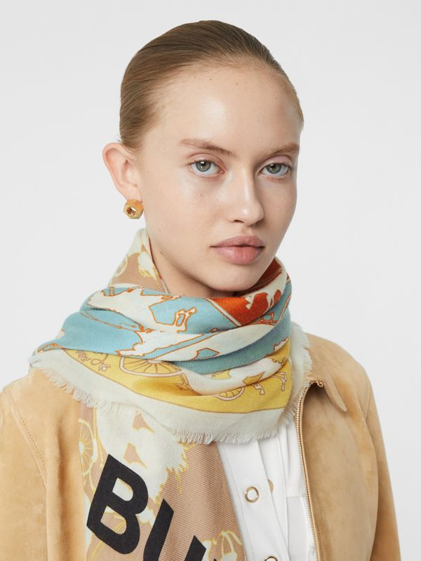 Archive Scarf Print Cashmere Large Square Scarf in Multicolour | Burberry - cell image 2