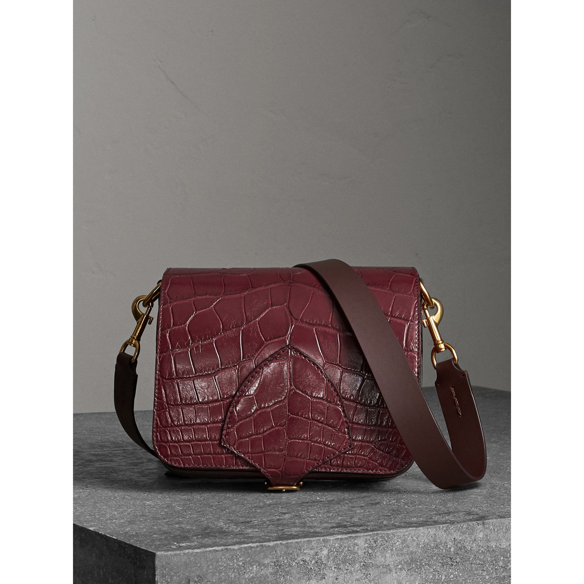 The Square Satchel in Alligator in Dark Plum - Women | Burberry - gallery image 0