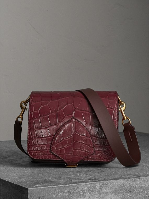 The Square Satchel in Alligator in Dark Plum