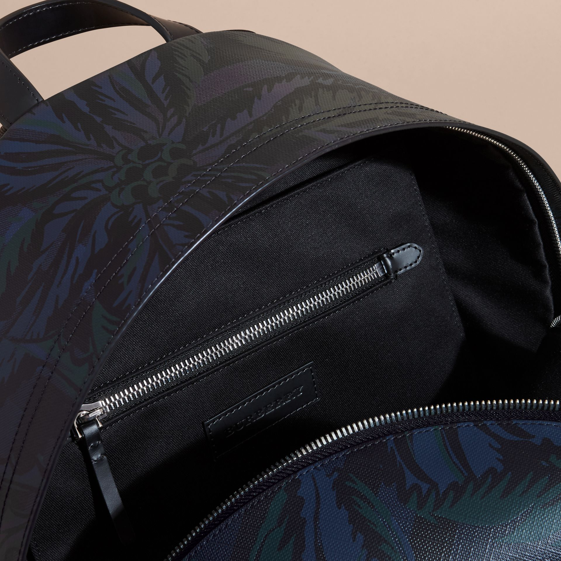 Leather Trim Floral Print London Check Backpack Navy - gallery image 5