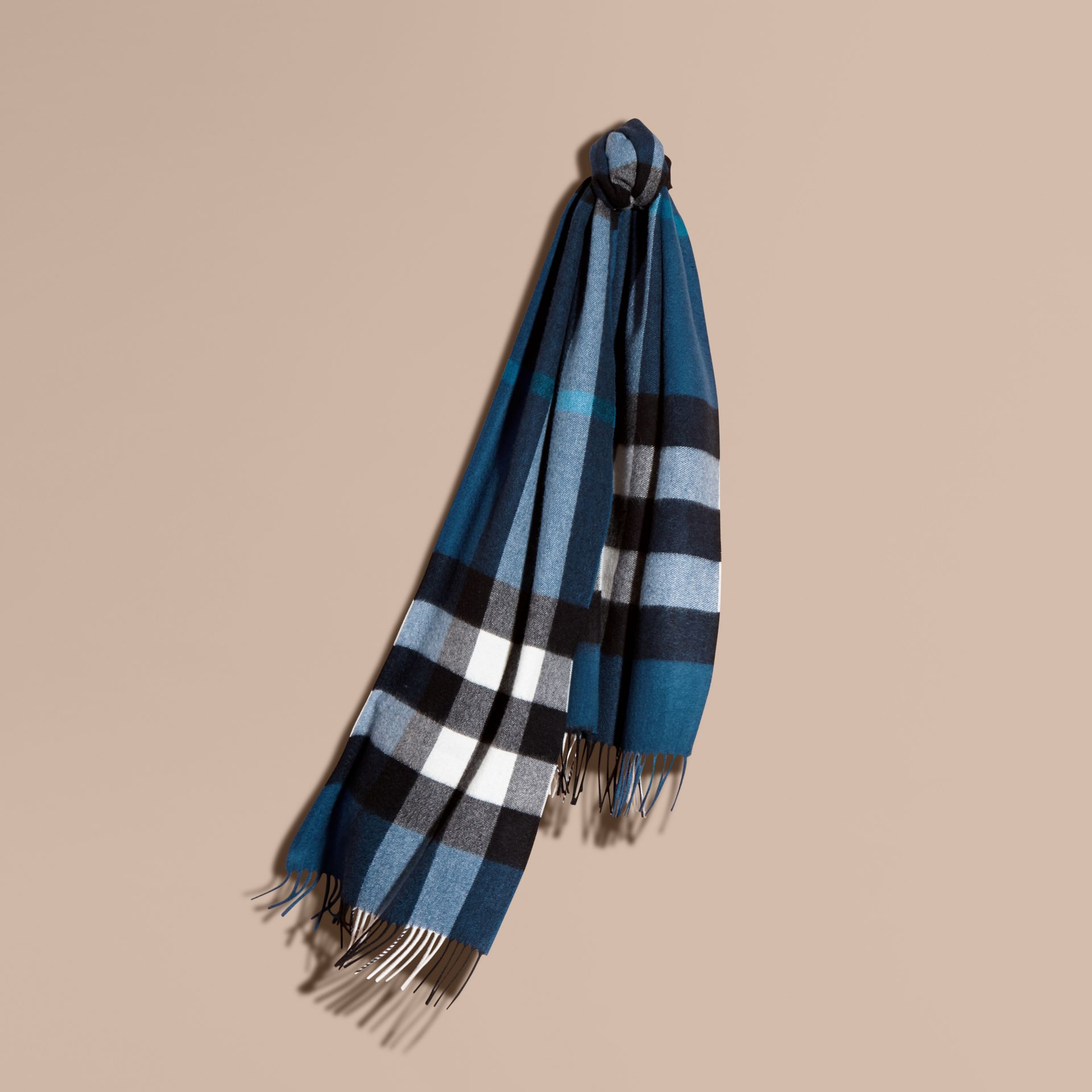 The Large Classic Cashmere Scarf in Check Marine Blue - gallery image 6