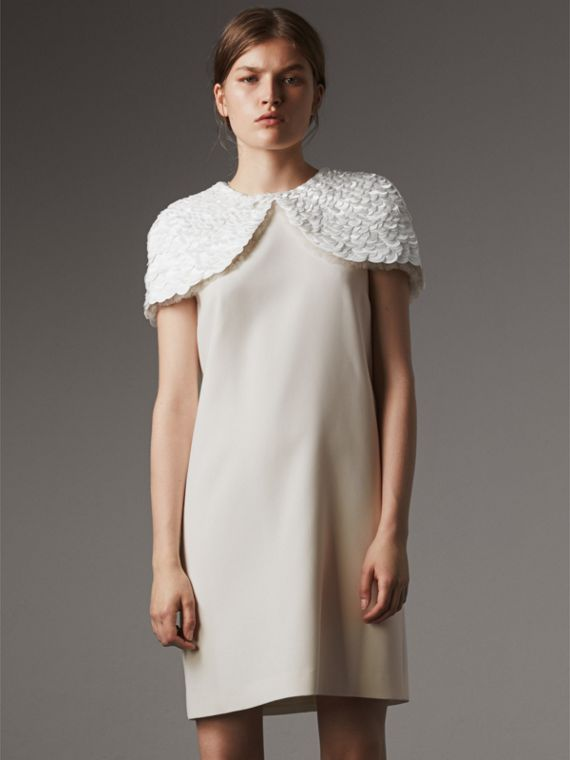 Silk Shift Dress with Detachable Paillette Cape in Natural White