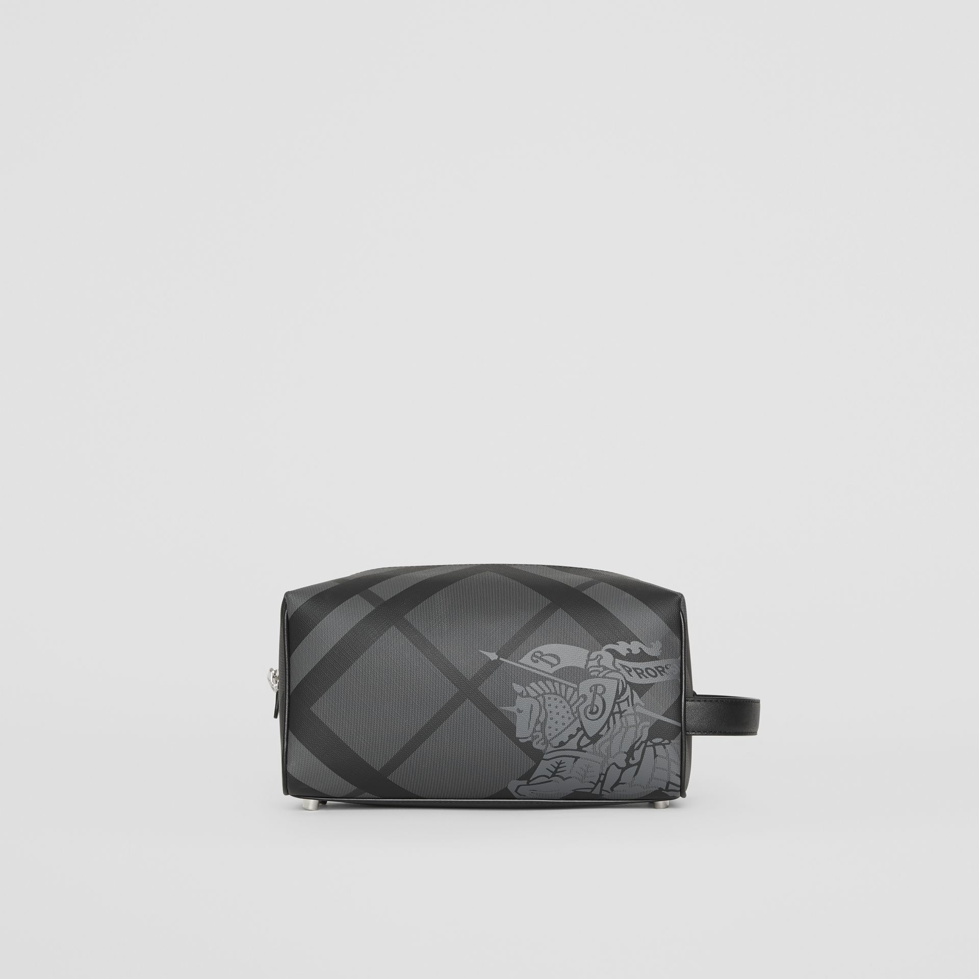 EKD London Check and Leather Pouch in Charcoal/black - Men | Burberry Singapore - gallery image 4