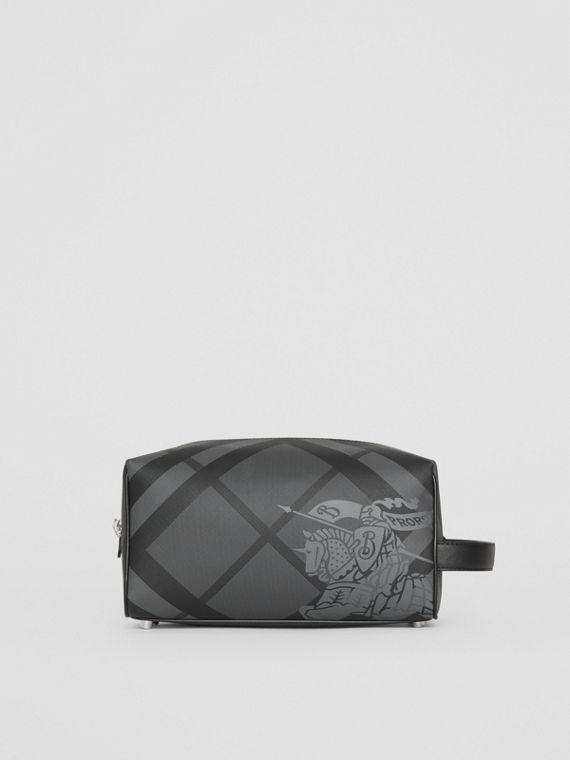 EKD London Check and Leather Pouch in Charcoal/black