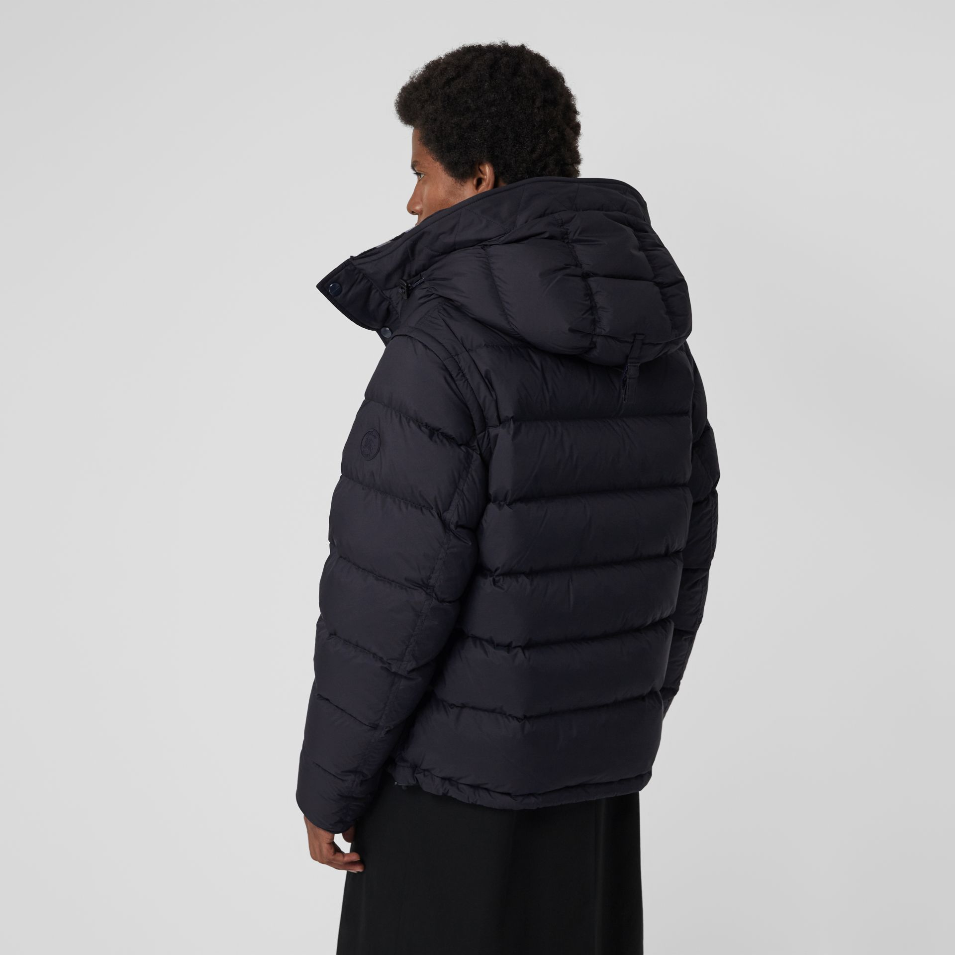 Detachable-sleeve Down-filled Hooded Puffer Jacket in Navy - Men | Burberry Australia - gallery image 2