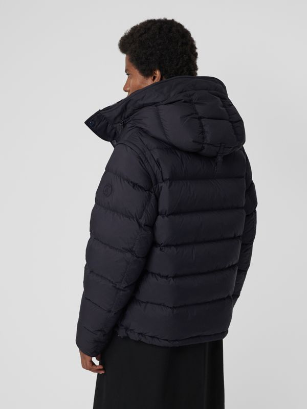 Detachable-sleeve Down-filled Hooded Puffer Jacket in Navy - Men | Burberry - cell image 2