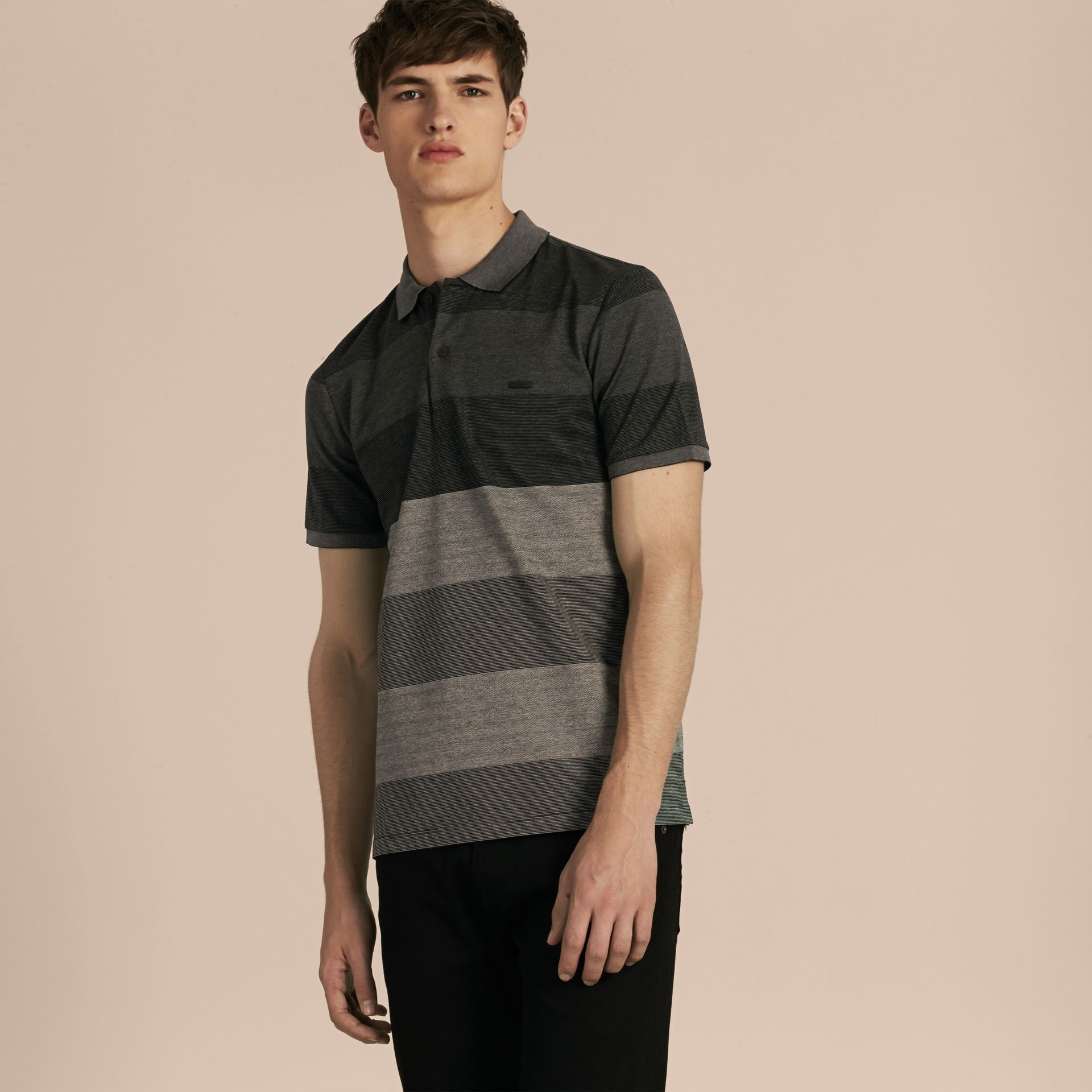 Mid grey melange Striped Stretch Cotton Piqué Polo Shirt Mid Grey Melange - gallery image 6