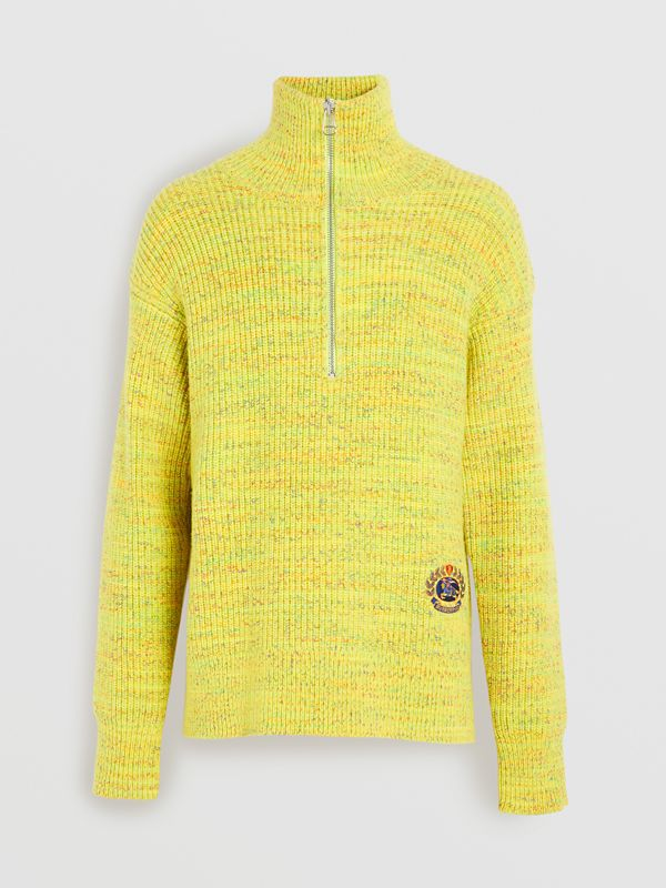 Rib Knit Wool Cashmere Blend Half-zip Sweater in Vibrant Yellow - Men | Burberry - cell image 3