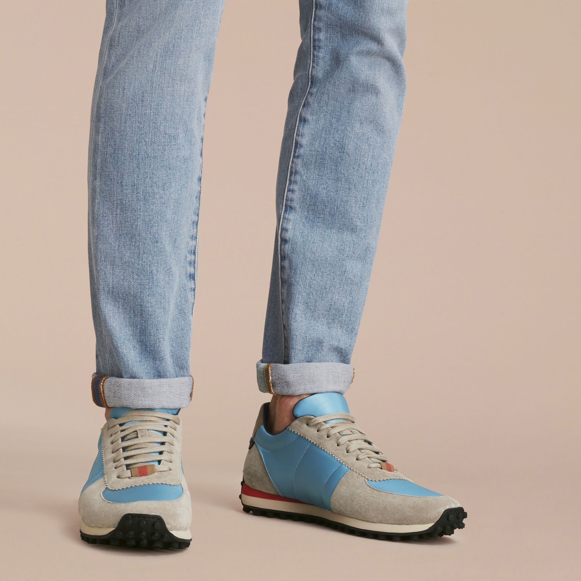 House Check Trim Suede and Technical Satin Sneakers Light Taupe Brown/powder Blue - gallery image 3