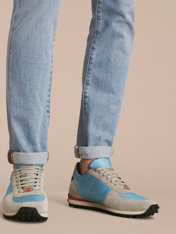 House Check Trim Suede and Technical Satin Sneakers Light Taupe Brown/powder Blue - cell image 2
