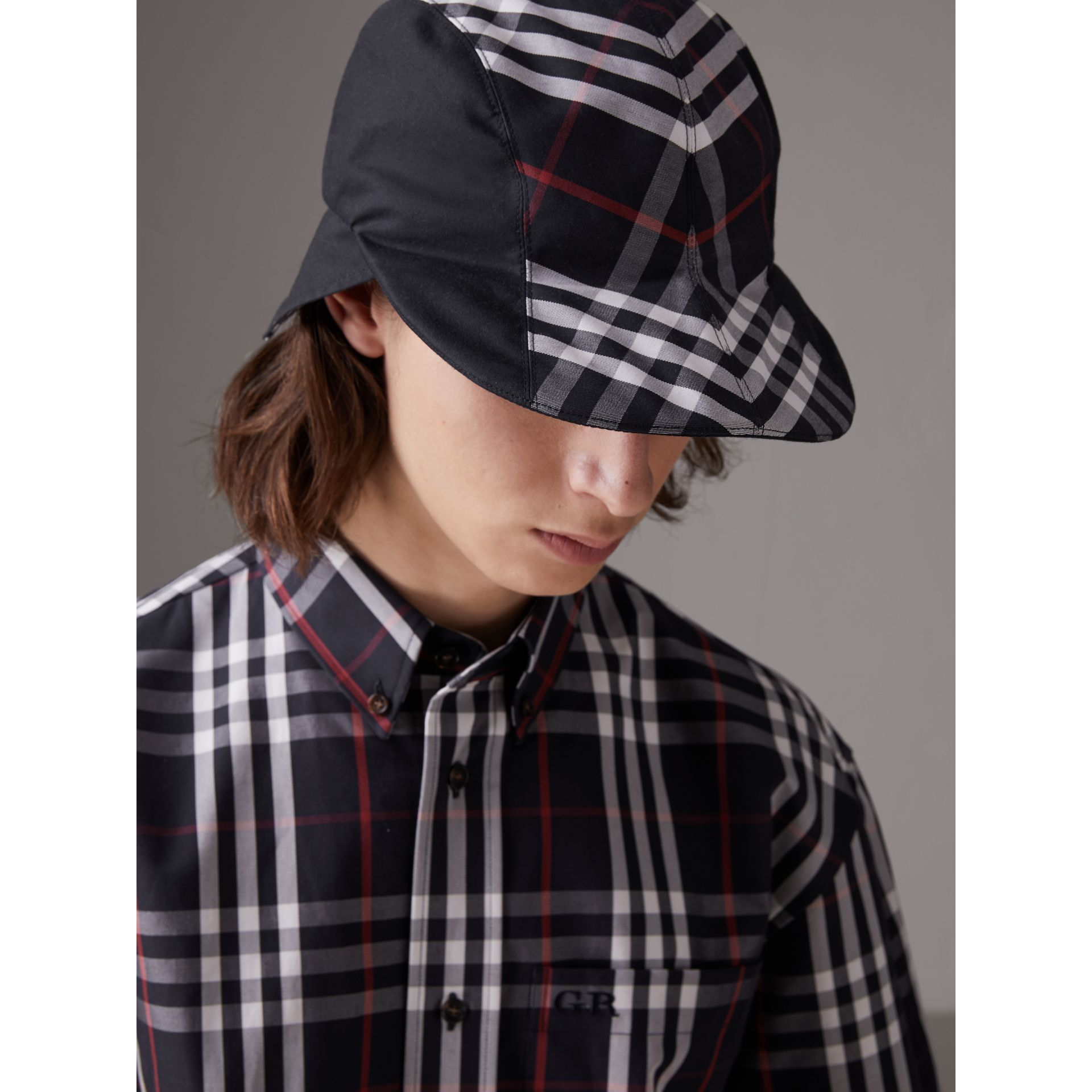 Gosha x Burberry Duckbill Cap in Navy | Burberry - gallery image 3