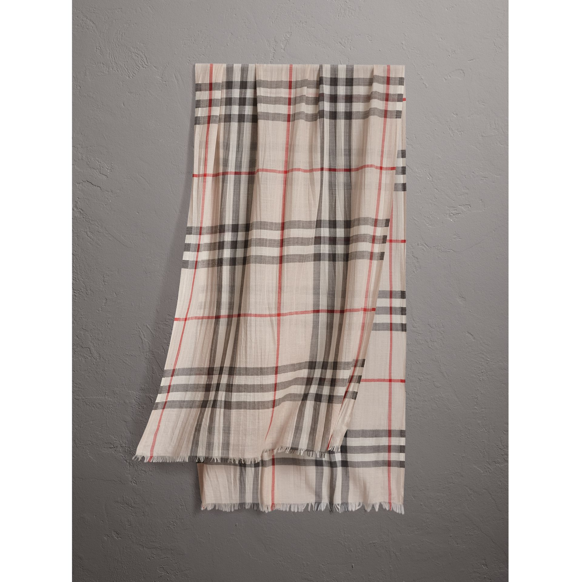 Lightweight Check Wool and Silk Scarf in Stone | Burberry - gallery image 0
