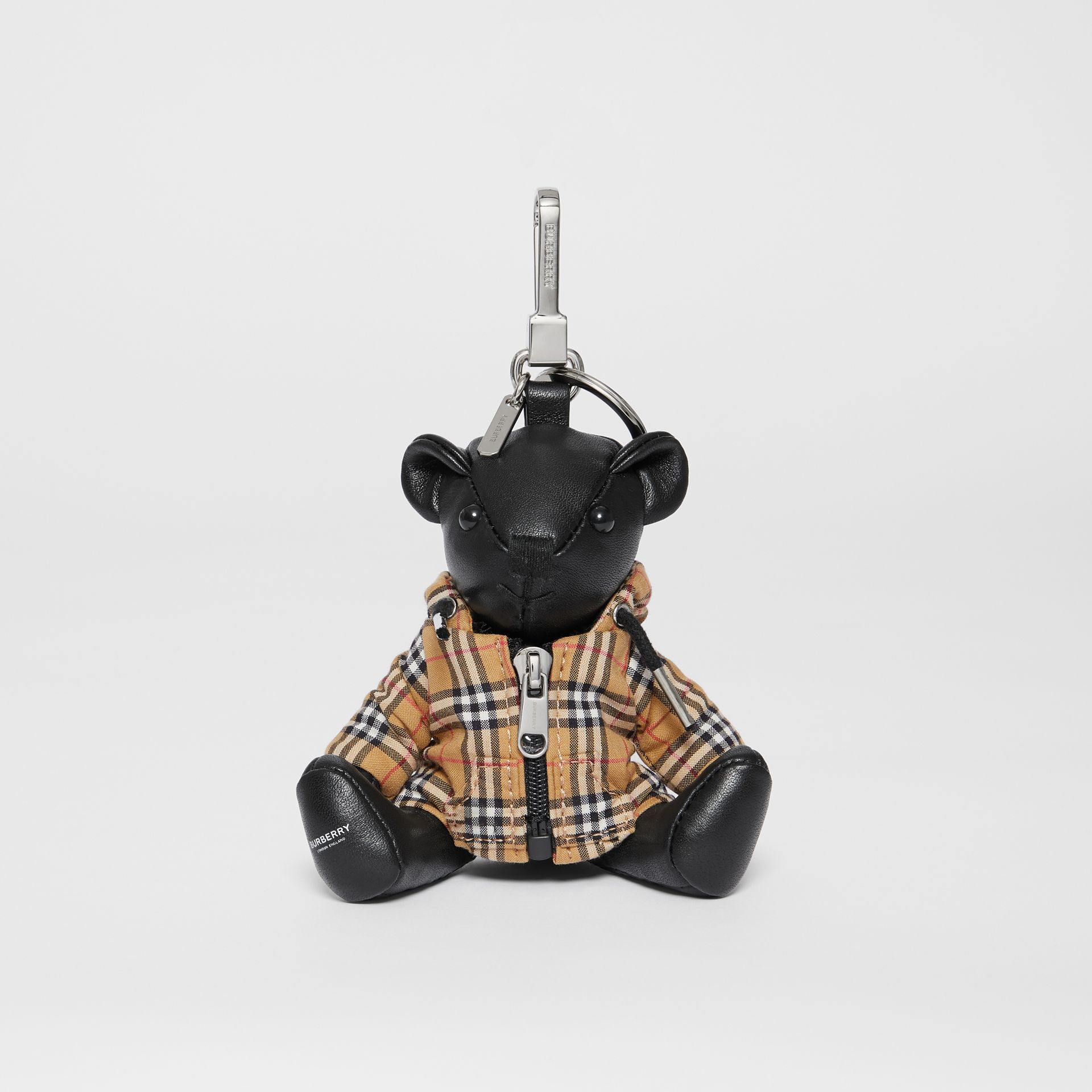 Thomas Bear Charm in Vintage Check Hooded Top in Black/antique Yellow - Women | Burberry Australia - gallery image 2