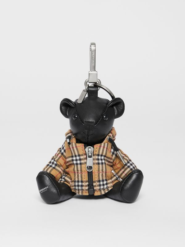 Thomas Bear Charm in Vintage Check Hooded Top in Black/antique Yellow - Women | Burberry Australia - cell image 2